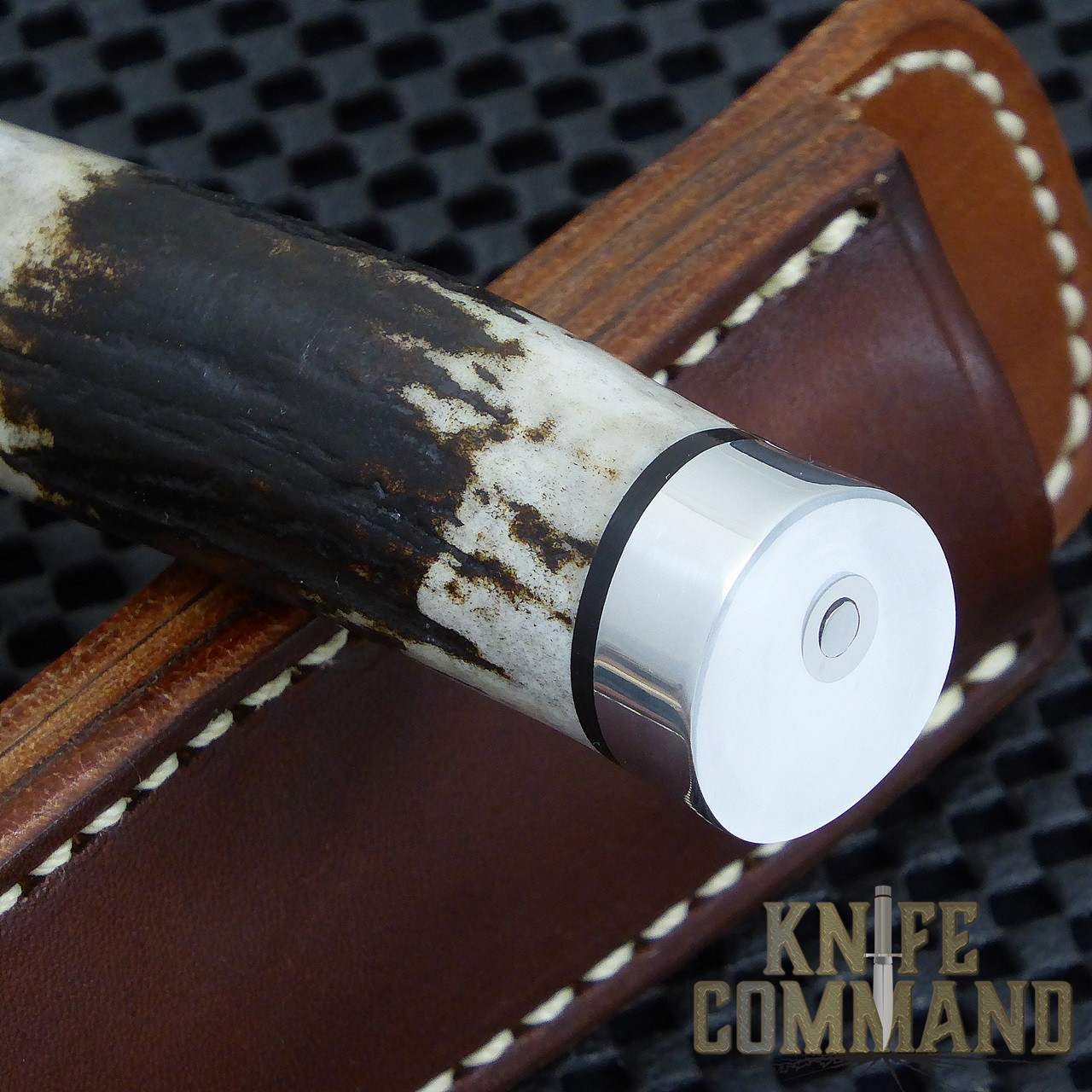 "Randall Made Knives Non-Catalog Model Gambler 4"" Stag Boot Knife.  Custom Duralumin butt cap."