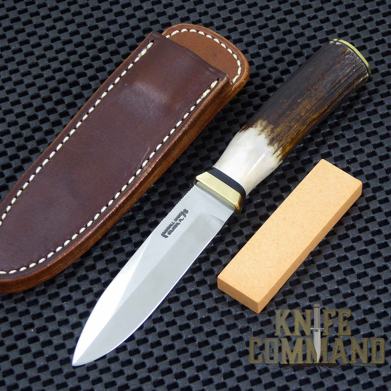 "Randall Made Knives Non-Catalog Model Gambler 4"" Stag Boot Knife.  Brand new in original Randall wrap."