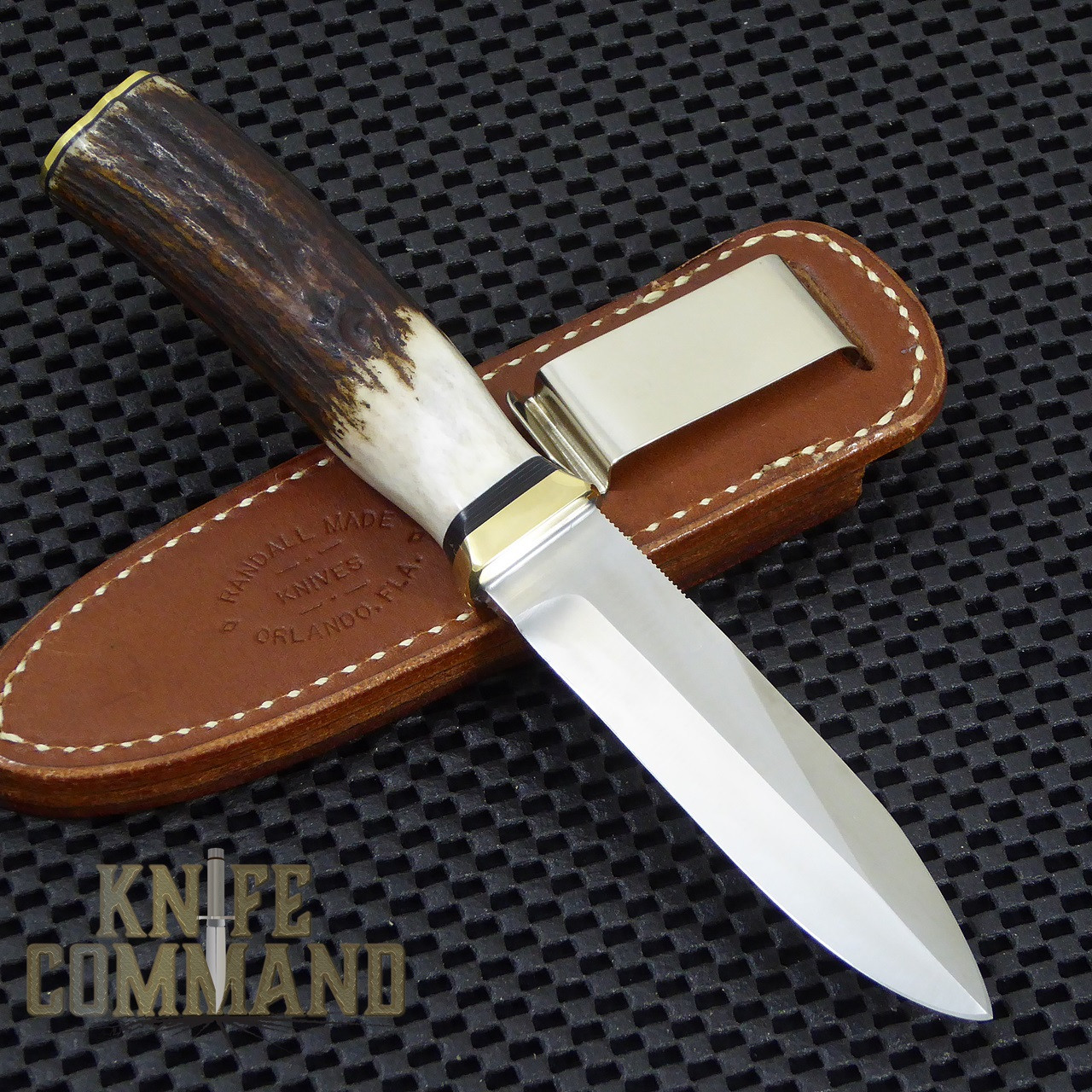 "Randall Made Knives Non-Catalog Model Gambler 4"" Stag Boot Knife.  All black spacers."