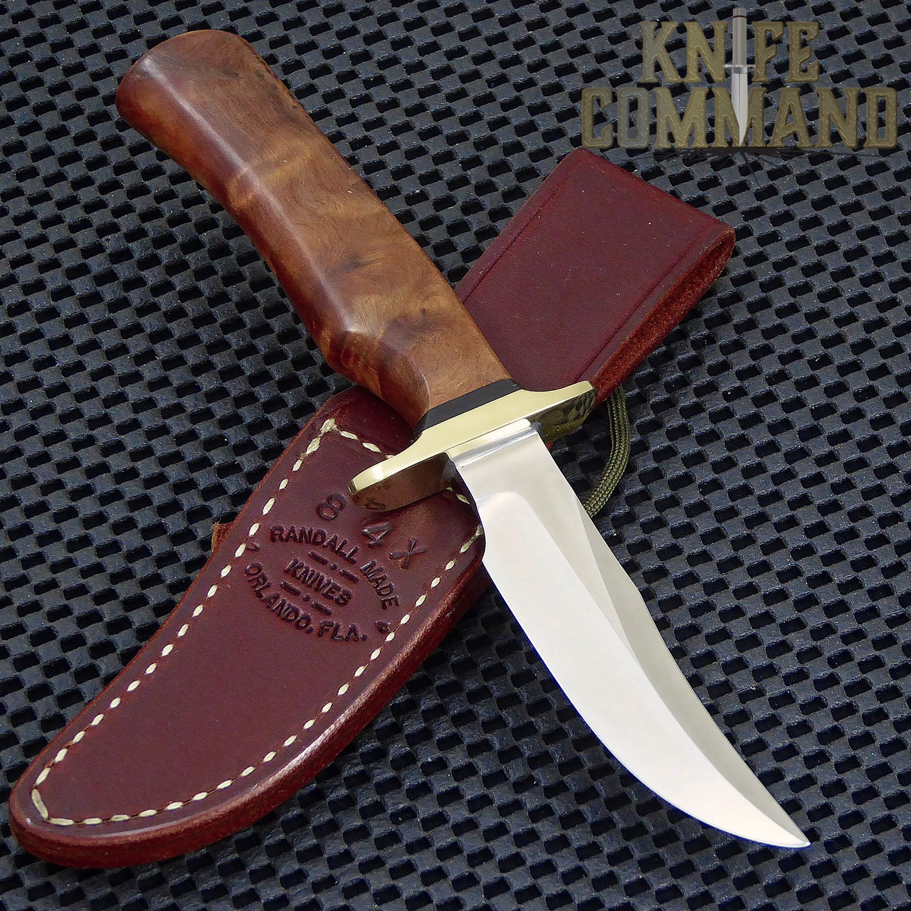 Randall Made Knives Model 8-4X Old Style Bird and Trout Thuya Fighter Style Knife.  Single finger grip and a double hilt.