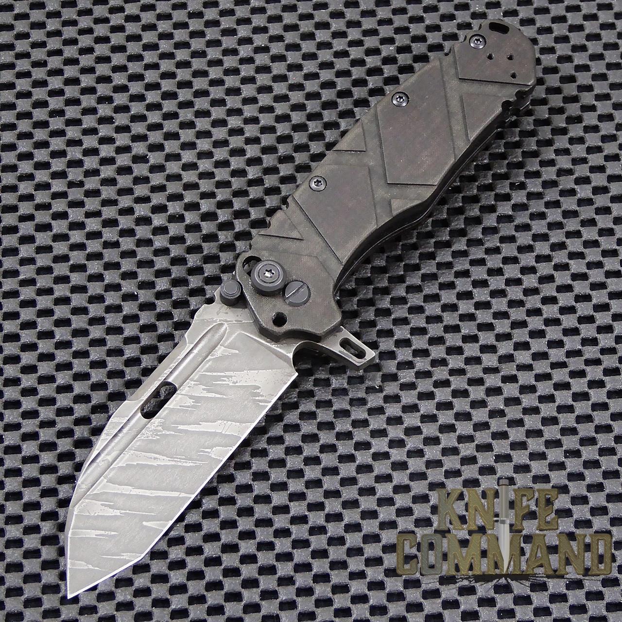 Wander Tactical Custom Hurricane Extreme Duty Folding Knife.  Custom blade and Black Micarta handles.