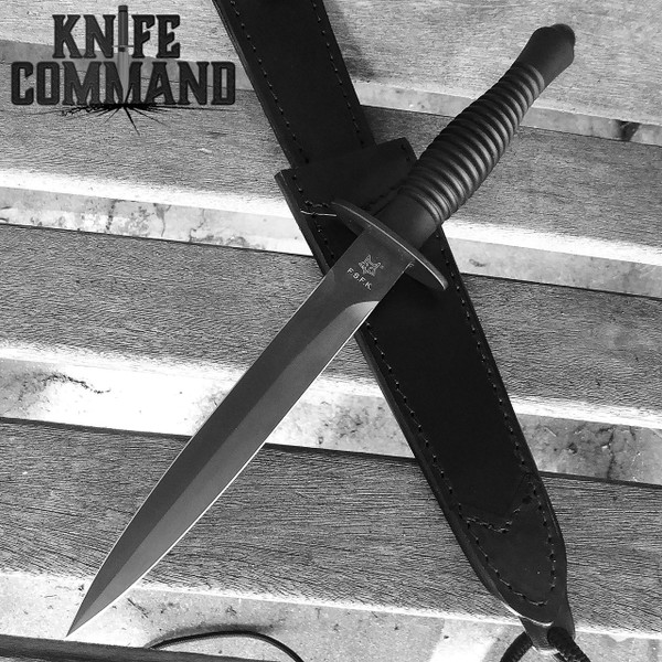 Fox Knives FX-592 Fairbairn Sykes Combat Dagger Knife.  All black version.