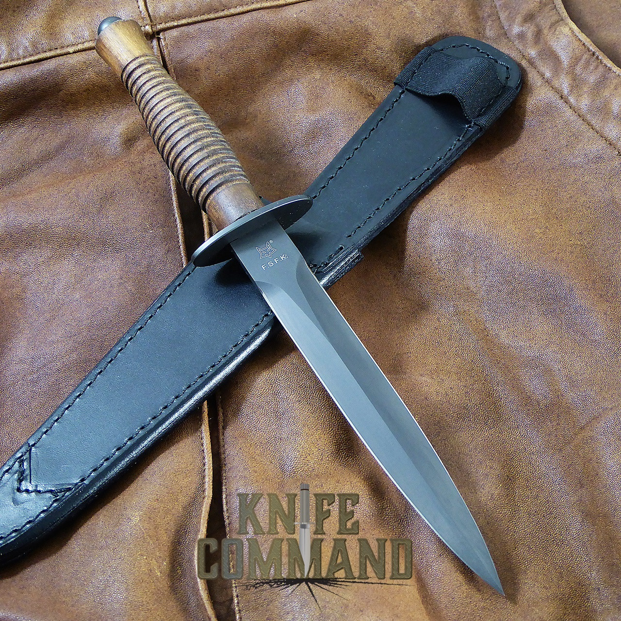 Fox Knives FX-592 W Fairbairn Sykes Combat Dagger Knife PVD Walnut.  Walnut handle and black blade.