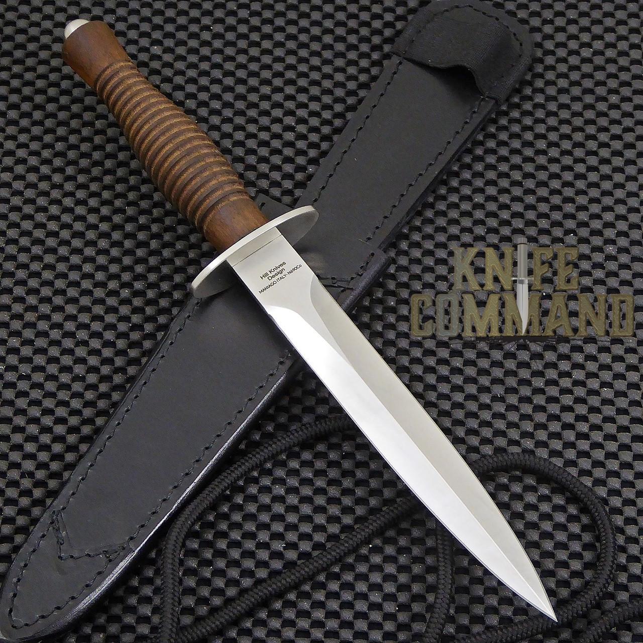 Fox Knives FX-593 Fairbairn Sykes Combat Dagger Knife Walnut.  Satin finished N690Co blade.