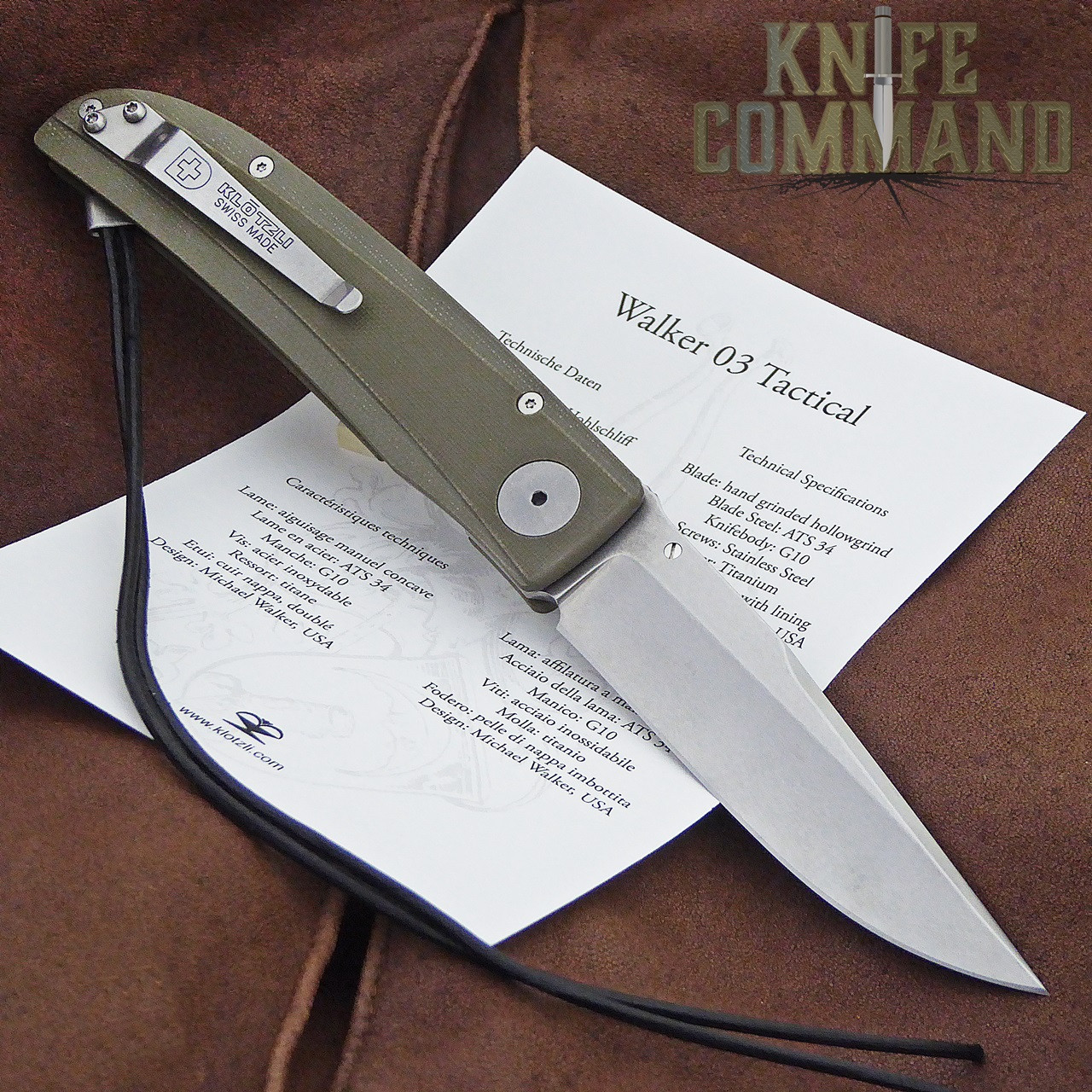 Klotzli Knives Michael Walker 03 Tactical Folding Knife Green WALK-03-TAC-GC.  With pocket clip and papers.