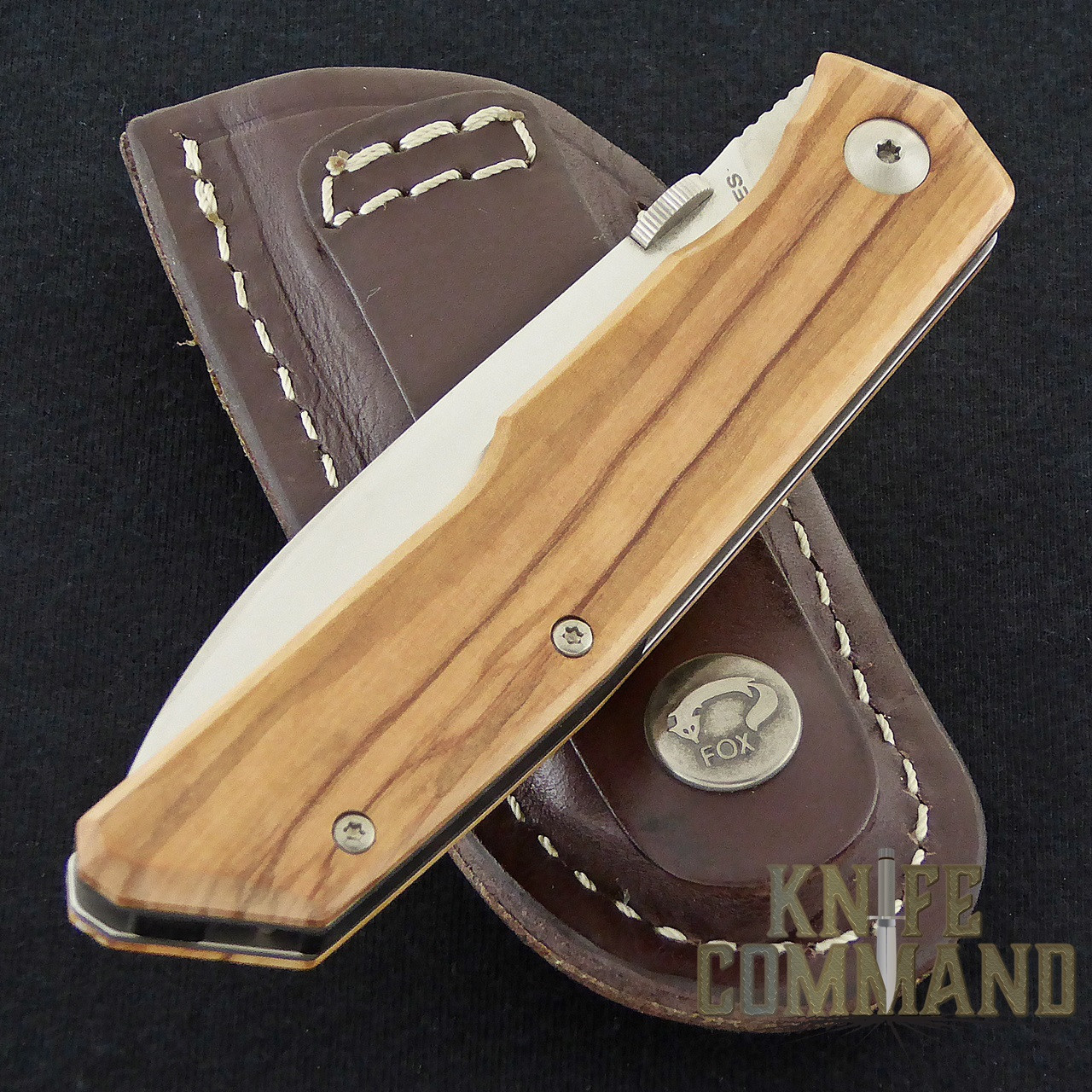 Fox Knives Bob Terzuola Olive Wood Handle Pocket Knife FX-525 OL.  Leather belt sheath.