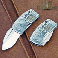 G Sakai Ukimon Ukiyo-e Kinkakuji Money Clip Pocket Knife VG-10 11604.  Beautiful artwork.