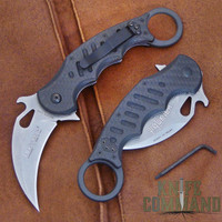 Fox Knives 479 CG10SW Folding Karambit Knife Carbon Fiber + Black G10.  Carbon Fiber and G10 handles.