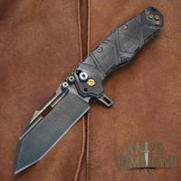 Wander Tactical Custom Hurricane TI Extreme Duty Folding Knife Black Micarta.