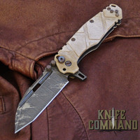 Wander Tactical Custom Hurricane TI Extreme Duty Folding Knife Ice Brush Coyote Tan Micarta.  Custom Ice Brush blade finish.
