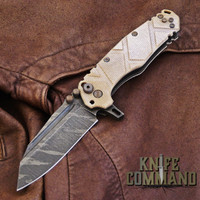 Wander Tactical Custom Mistral TI Extreme Duty Folding Knife Ice Brush Coyote Tan Micarta.  Custom Ice Brush finish Mistral blade.