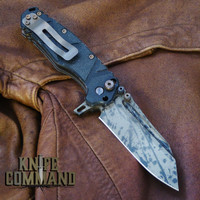 Wander Tactical Custom Mistral TI Extreme Duty Folding Knife Black Blood Black Micarta.  Reversible titanium pocket clip.