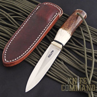 Randall Made Knives Model 24 Guardian Stag Boot Knife Wrist Thong Unusual.  Stag and a wrist thong.