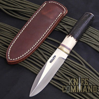 "Randall Made Knives Non-Catalog Model Gambler 4"" Stag Boot Knife w/Compass.  Stag handle with brass hilt."