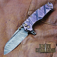 Wander Tactical Custom Mistral Purple Maple TI Extreme Duty Folding Knife Ice Brush.  Purple Maple with bronzed hardware.