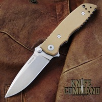 Fantoni HB 03 M390 William Harsey Combat Folder Tactical Knife Coyote Tan.  Bohler M390 Microclean blade.