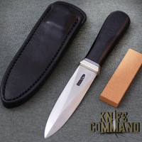 Randall Made Knives Model 24 Guardian Custom Police Special Black Micarta Knife.  Stainless and Nickel Silver.