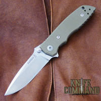 Fantoni HB 03 M390 William Harsey Combat Folder Tactical Knife OD Green.  Bohler M390 Microclean stainless steel blade.