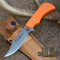 D2 clip-point blade and Blaze Orange Suregrip handle.
