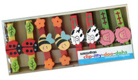 Set/8 Barnyard Animal and Bug Clothespin Magnets