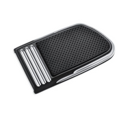 Defiance Collection Brake Pedal Pad - Large Chrome and Black