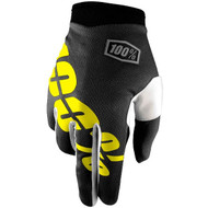 100% I-Track Youth Gloves - Black / Neon Yellow