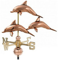 Weathervane - Polished - Three Dolphins