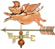 Weathervane - Polished - Flying Pig