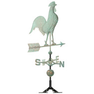 "Whitehall 20"" Copper Rooster Weathervane - Verdigris"