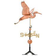 "Whitehall 26"" Copper Heron Weathervane - Polished"
