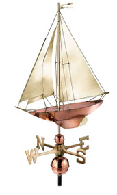 Good Directions 909B Racing Sloop Weathervane - Pure Copper with Brass Sail