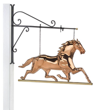 Hanging Horse Pure Copper Weathervane Sign with Decorative Bracket