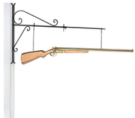 Hanging Shotgun Pure Copper Weathervane Sign with Decorative Bracket
