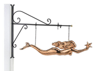 Hanging Mermaid with Starfish Pure Copper Weathervane Sign with Decorative Bracket