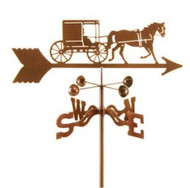 Horse-Horse-Amish Horse and Buggy Weathervane With Mount