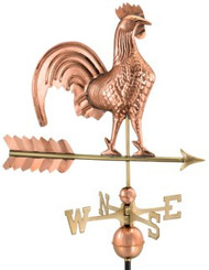 "Good Directions 25"" Rooster Weathervane - Polished Copper"