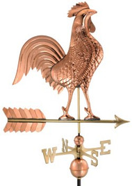 "Good Directions 27"" Rooster Weathervane - Polished Copper"