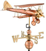 Good Directions Airplane/Biplane Weathervane - Polished Copper