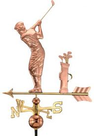 Good Directions Golfer Weathervane - Polished Copper