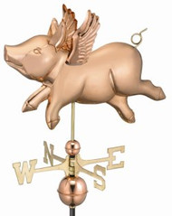 Good Directions Flying Pig Weathervane - Polished Copper