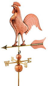 Good Directions Barn Rooster Estate Weathervane - Polished Copper