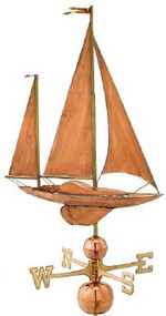 Good Directions Large Sailboat Weathervane - Polished Copper
