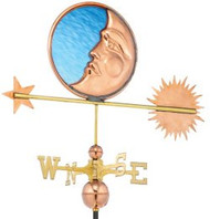 Good Directions Stained Glass Moon Weathervane - Polished Copper