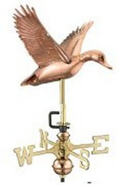 Weathervane - Flying Duck - Copper With Mount