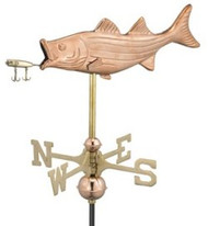 Weathervane - Bass with lure - copper With Mount
