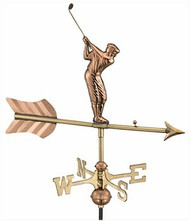 Weathervane - Golfer - Polished Copper Garden