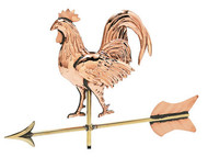 Weathervane - Polished - Cottage 3-D Rooster W/Arrow
