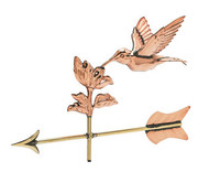Weathervane - Polished - Cottage  3-D Hummingbird w/ Arrow