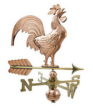 Weathervane - Polished - Large Crowing Rooster