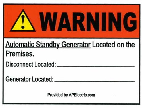 WP Sticker 89672 -  Warning Generator Located on Premises